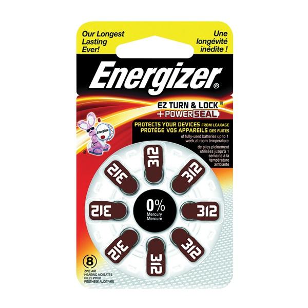 Picture of Energizer 312 Series AZ312DP-8 Hearing Aid Battery, 1.4 V Battery, 155 mAh, Zinc-Air