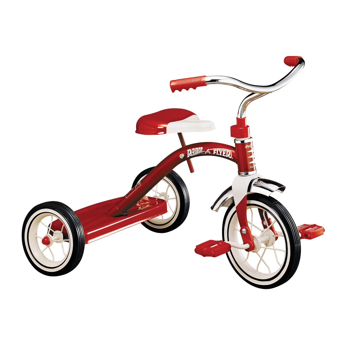 Picture of RADIO FLYER 34B Tricycle, 2 to 4 years, Steel Frame, 10 x 1-1/4 in Front Wheel, 7 x 1-1/2 in Rear Wheel, Red