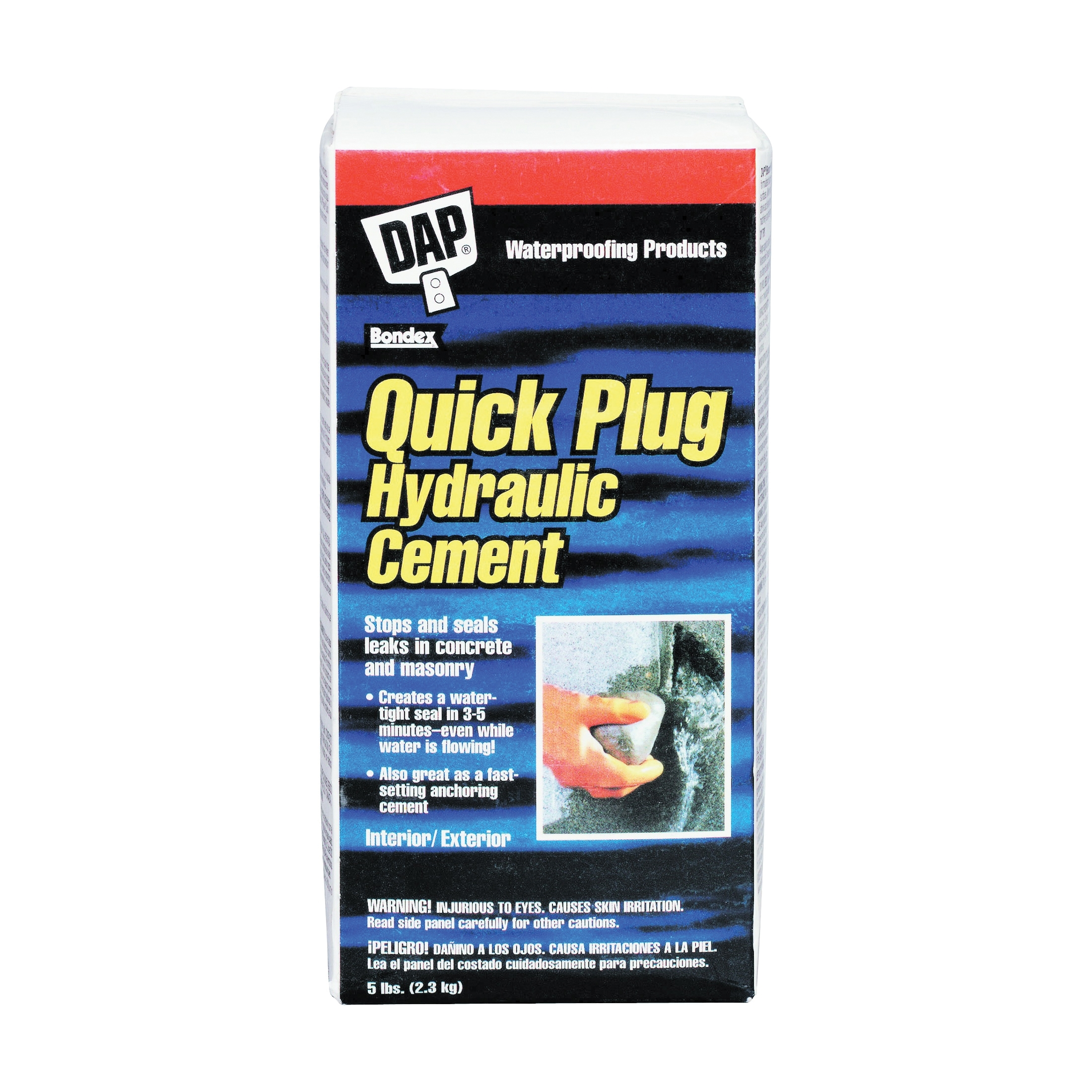 Picture of DAP Quick Plug 14086 Hydraulic and Anchoring Cement, Powder, Gray, 28 days Curing, 5 lb Package, Box