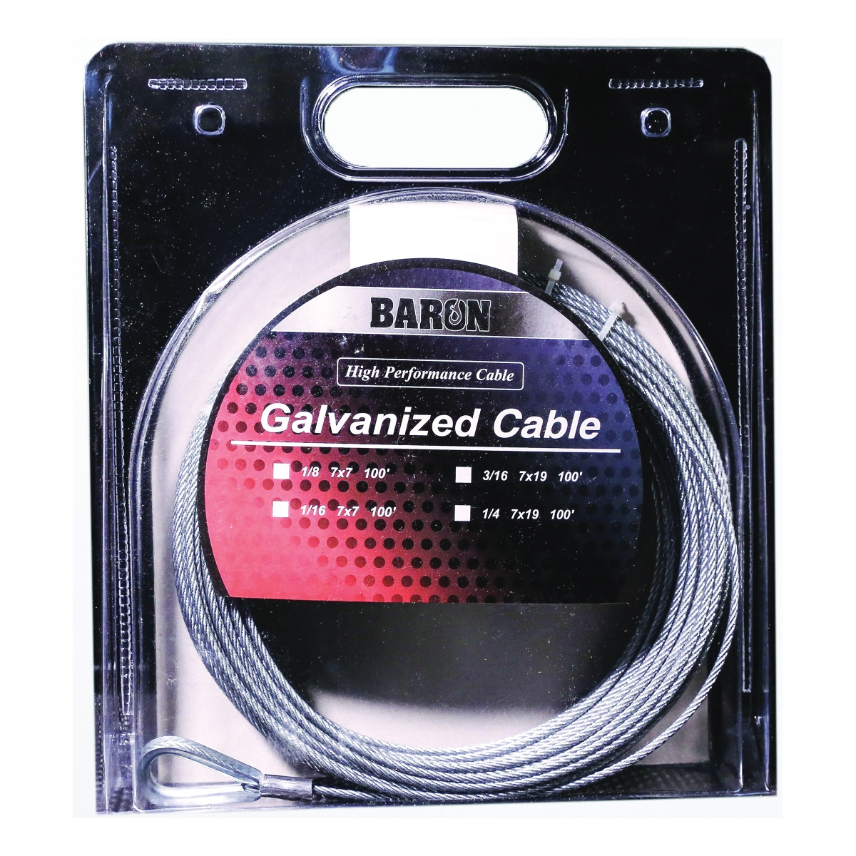 Picture of BARON 83105/50130 Aircraft Cable, 3/8 in Dia, 50 ft L, 2620 lb Working Load, Galvanized Steel