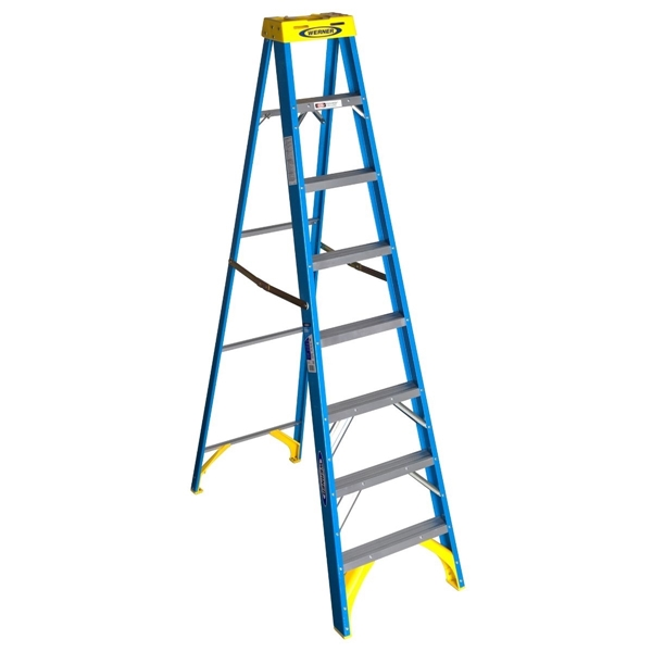 Picture of WERNER 6008 Step Ladder, 12 ft Max Reach H, 7-Step, 250 lb, Type I Duty Rating, 3 in D Step, Fiberglass, Blue