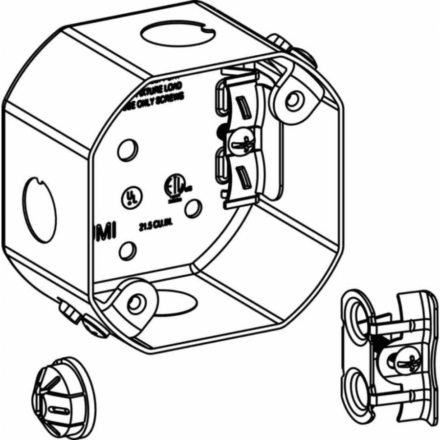 Picture of Orbit FSDB Fan Support Box, 4 in W, 2-1/8 in D, 4 in H, 1-Gang, 5-Knockout, Steel, Silver
