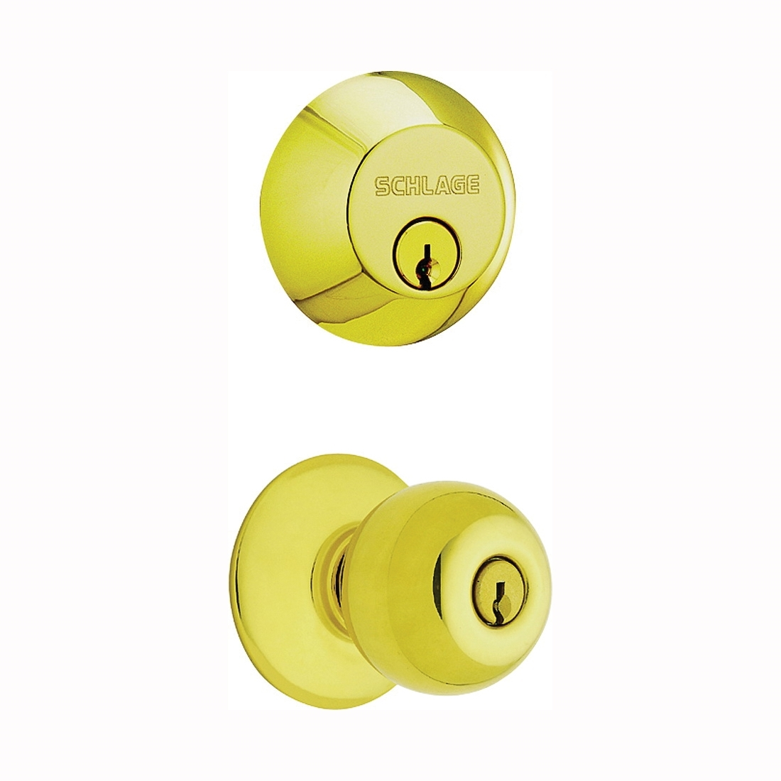Picture of Schlage Plymouth FB50NVPLY505 Knob Lockset, 2 Grade, Keyed Alike Key, Steel, Brass, 2-3/8 x 2-3/4 in Backset