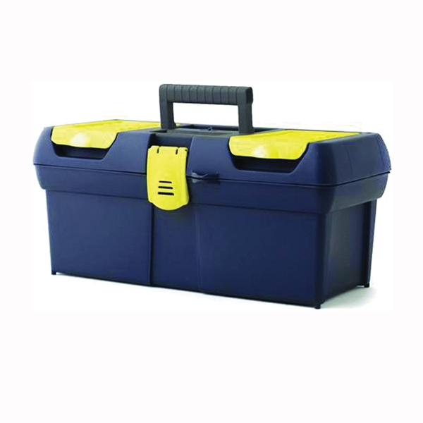 Picture of STANLEY 016011R Portable Tool Box with Plastic Latch, 2.1 gal, Plastic, Black/Yellow, 1 -Drawer, 4 -Compartment