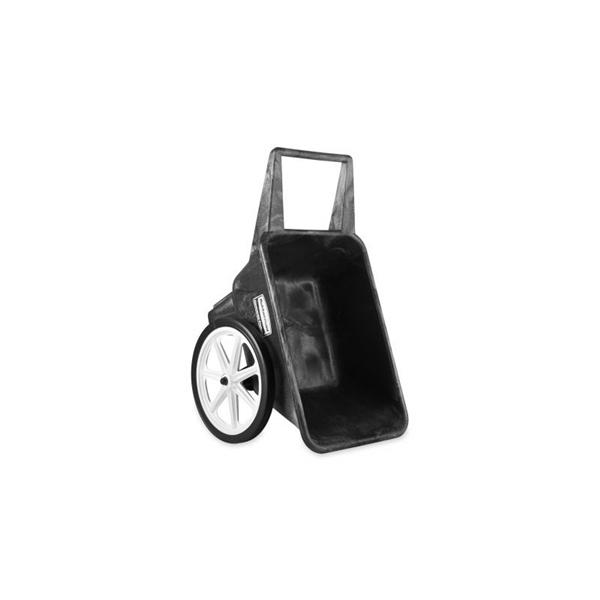 Picture of Rubbermaid 565461BLA Utility Cart, 200 lb, Plastic Deck, 2 -Wheel, 20 in Wheel, Semi-Pneumatic Wheel, Black