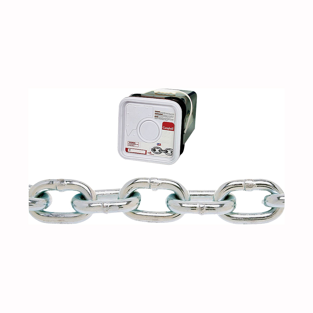 Picture of Campbell 014-3626 Proof Coil Chain, 3/8 in Trade, 45 ft L, 30 Grade, Steel, Zinc, Square Pail
