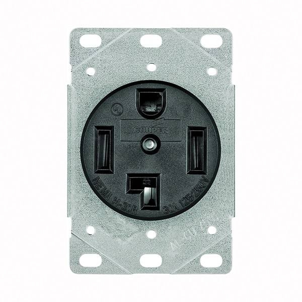 Picture of Eaton Cooper Wiring 1257-SP Power Receptacle, 3-Pole, 125/250 V, 30 A, NEMA 14-30R, Black