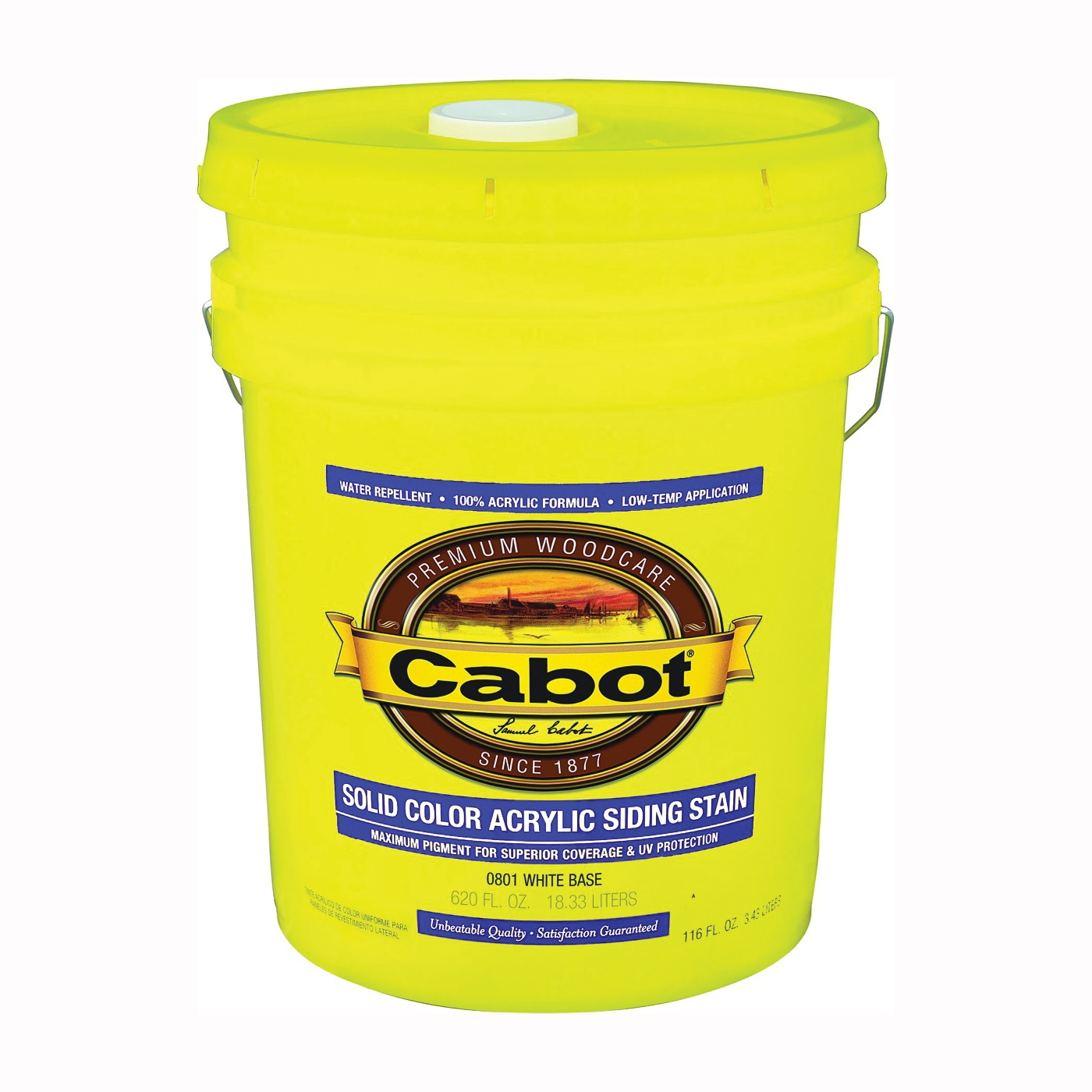 Picture of Cabot 800 Series 801-5GAL Solid Color Siding Stain, Natural Flat, Liquid, 5 gal, Can