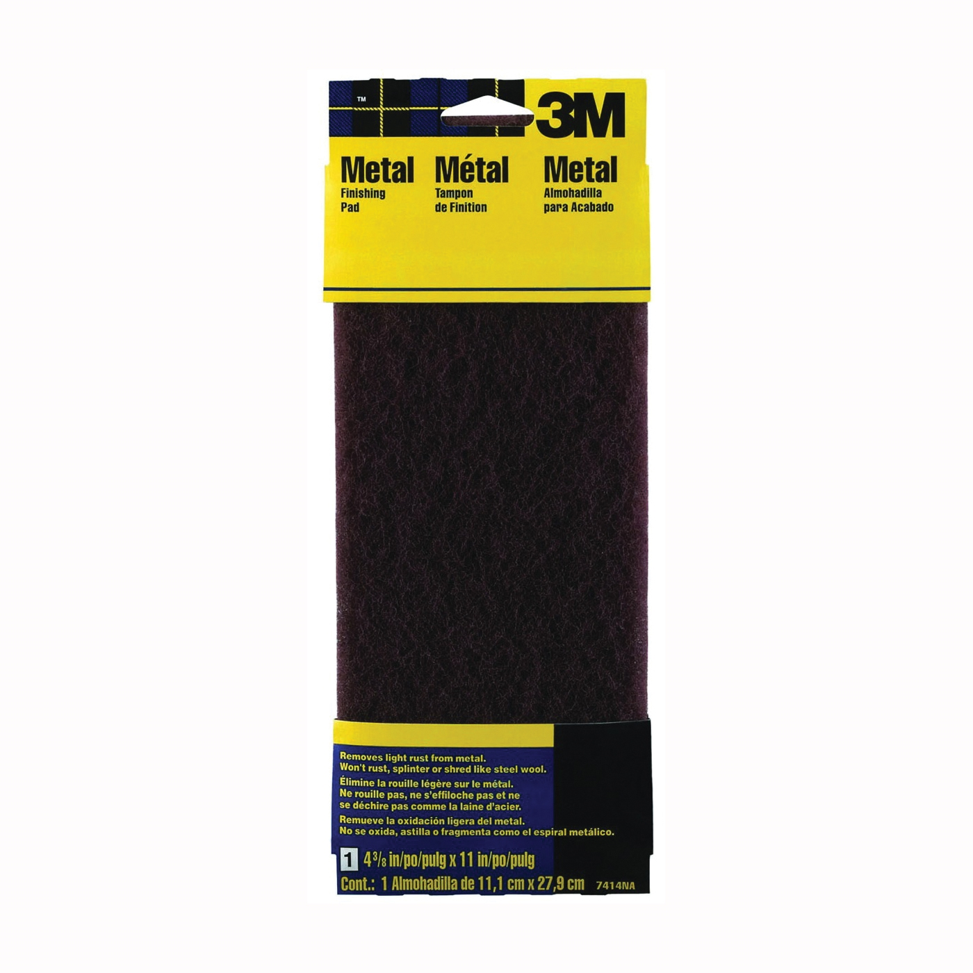 Picture of 3M 7414 Stripping Pad, 11 in L, 4-3/8 in W, Medium
