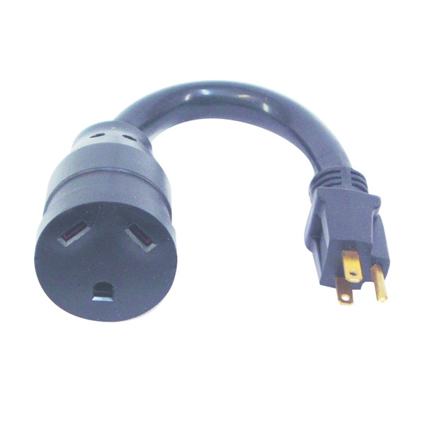 Picture of US Hardware RV-801B Adapter, 30 A Female, 15 A Male, 125 V, Male Plug, Female, 12 AWG Cable