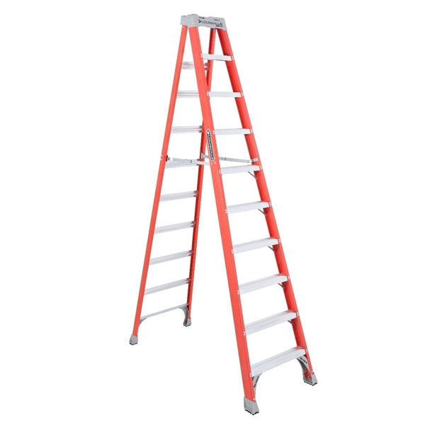 Picture of Louisville FS1510 Step Ladder, 170 in Max Reach H, 9-Step, 300 lb, Type IA Duty Rating, 3 in D Step, Fiberglass