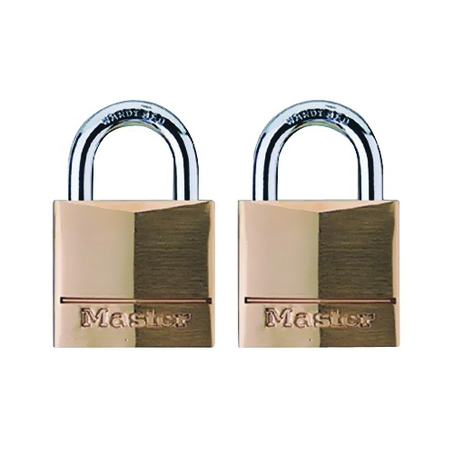 Picture of Master Lock 120T Padlock, Keyed Alike Key, 5/32 in Dia Shackle, Steel Shackle, Brass Body, 3/4 in W Body