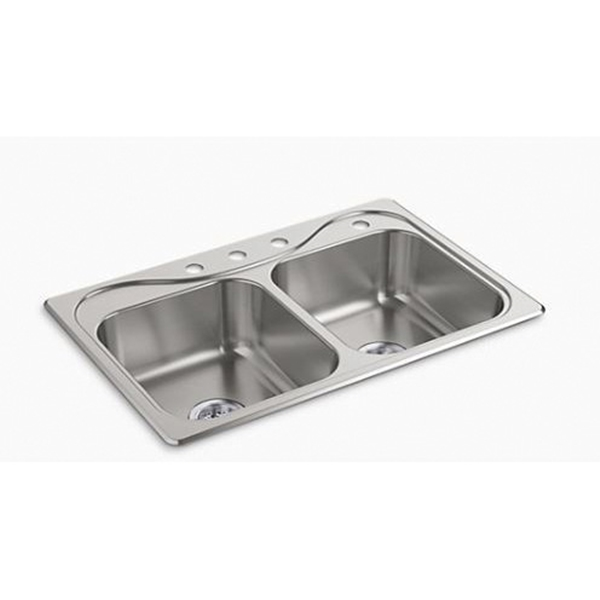 Picture of Sterling Southhaven 11402-4-NA Kitchen Sink, 4-Faucet Hole, 22 in OAW, 8 in OAD, 33 in OAH, Stainless Steel