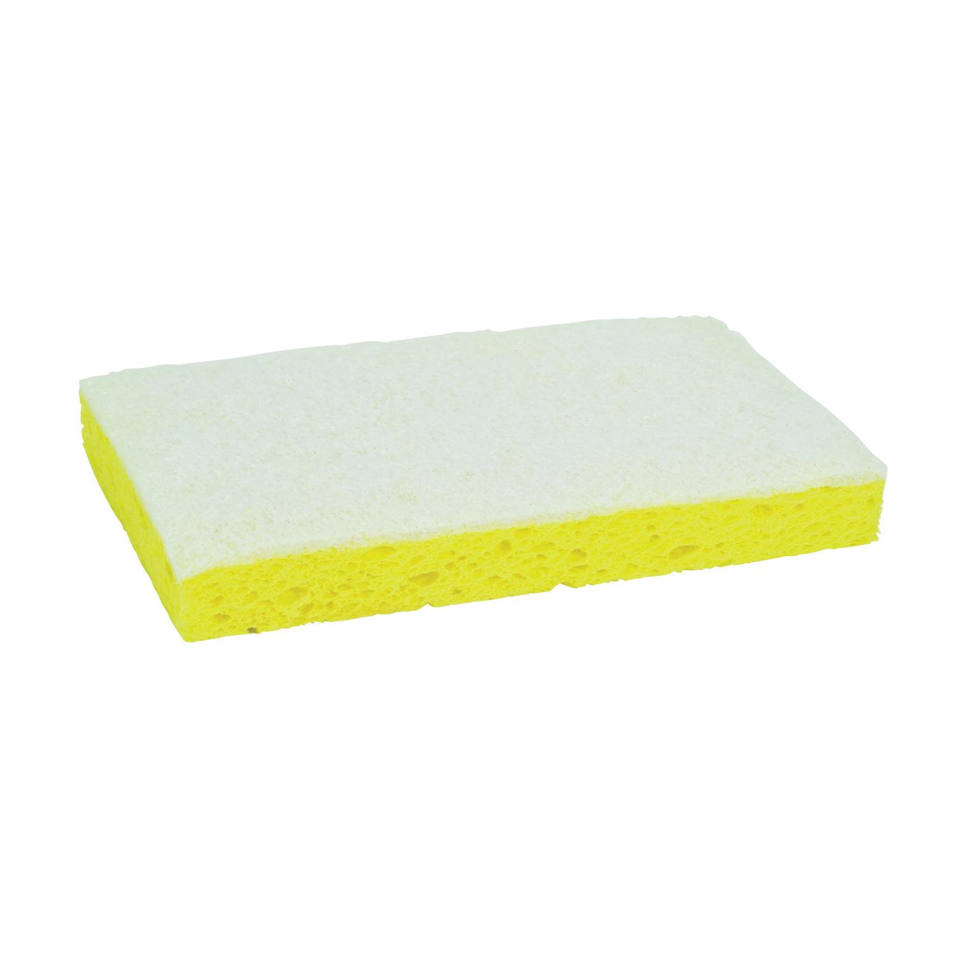 Picture of Scotch-Brite 63 Scrub Sponge, 6.1 in L, 3.6 in W, 0.7 in Thick, Cellulose/Fiber/Mineral/Resin, White/Yellow
