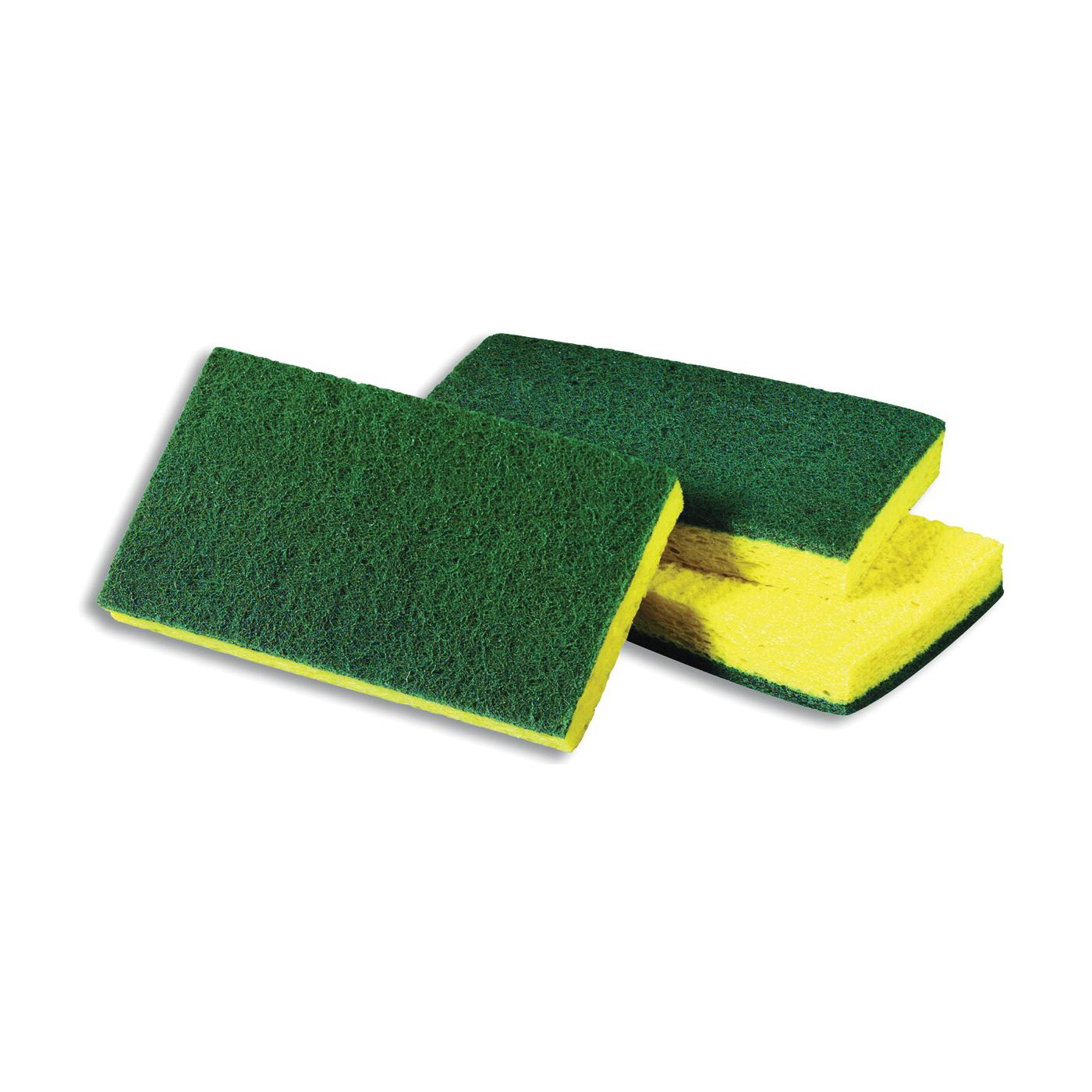 Picture of Scotch-Brite 74 Scrub Sponge, 6.1 in L, 3.6 in W, 0.7 in Thick, Cellulose/Fiber/Mineral/Resin, Green/Yellow