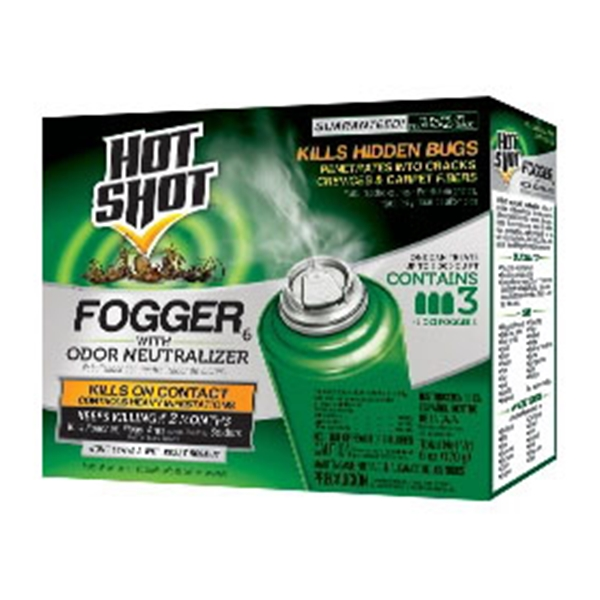 Picture of Hot-Shot 96180 Fogger with Odor Neutralizer, 2000 cu-ft Coverage Area, Light Yellow/Water White