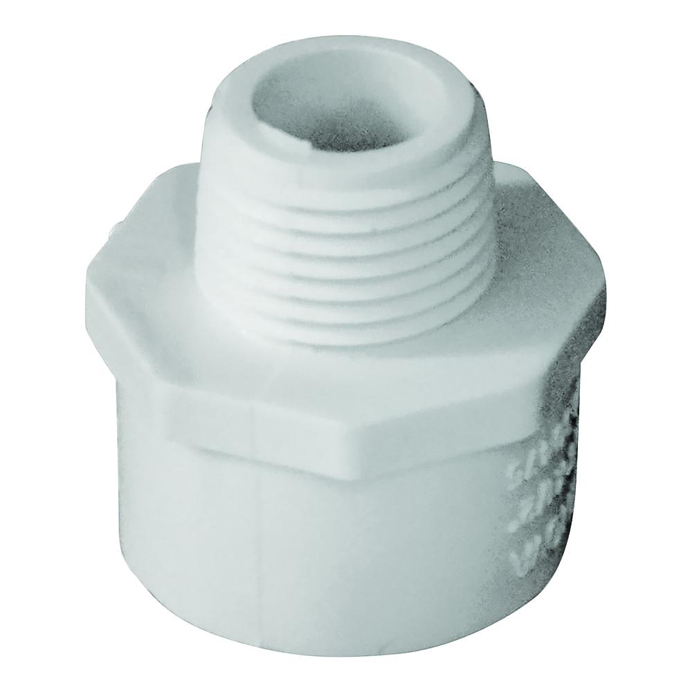 Picture of GENOVA 300 30475 Reducing Adapter, 3/4 x 1/2 in, Slip x MIP, PVC, White, SCH 40 Schedule