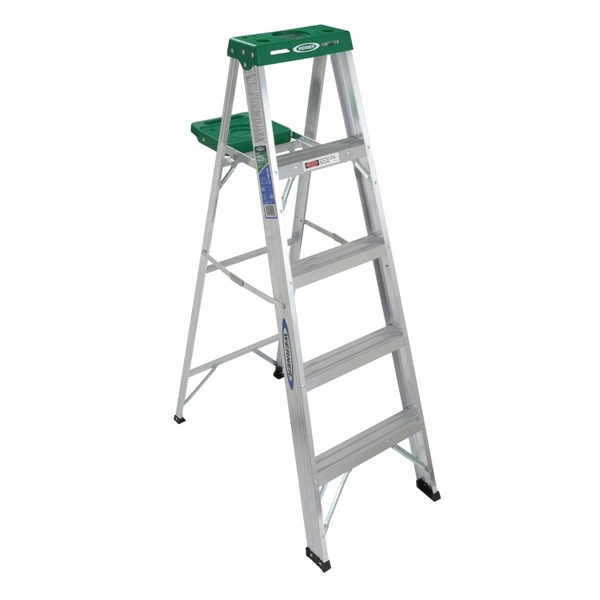 Picture of WERNER 355 Step Ladder, 9 ft Max Reach H, 4-Step, 225 lb, Type II Duty Rating, 3 in D Step, Aluminum, Green