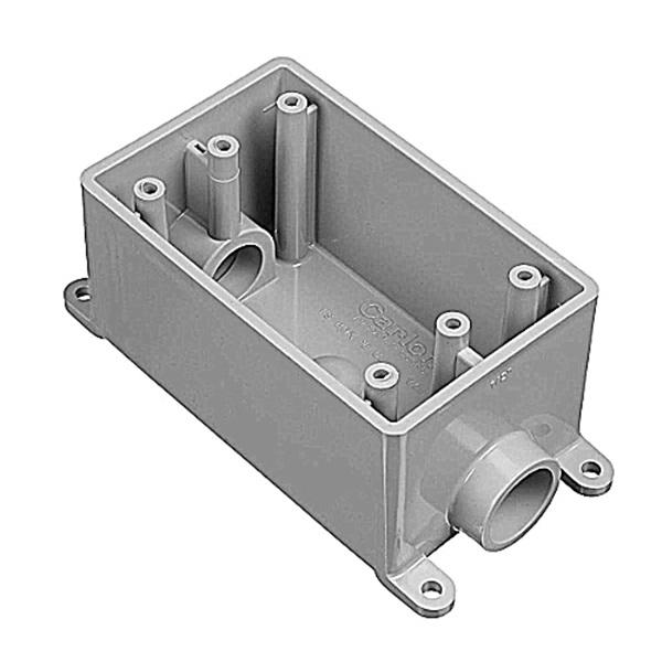 Picture of Carlon E981DFN-CTN Switch Box, 1-Gang, 2-Outlet, PVC, Gray