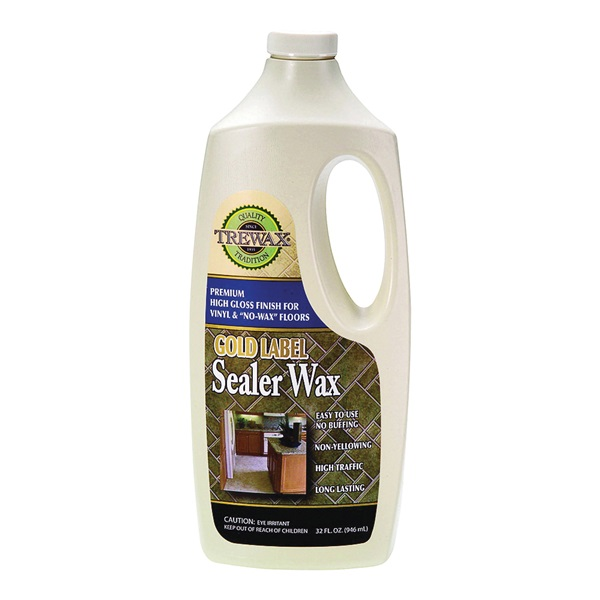 Picture of Trewax Gold Label 887135027 Sealer Wax, 32 fl-oz Package, Liquid, Acrylic, Milky White