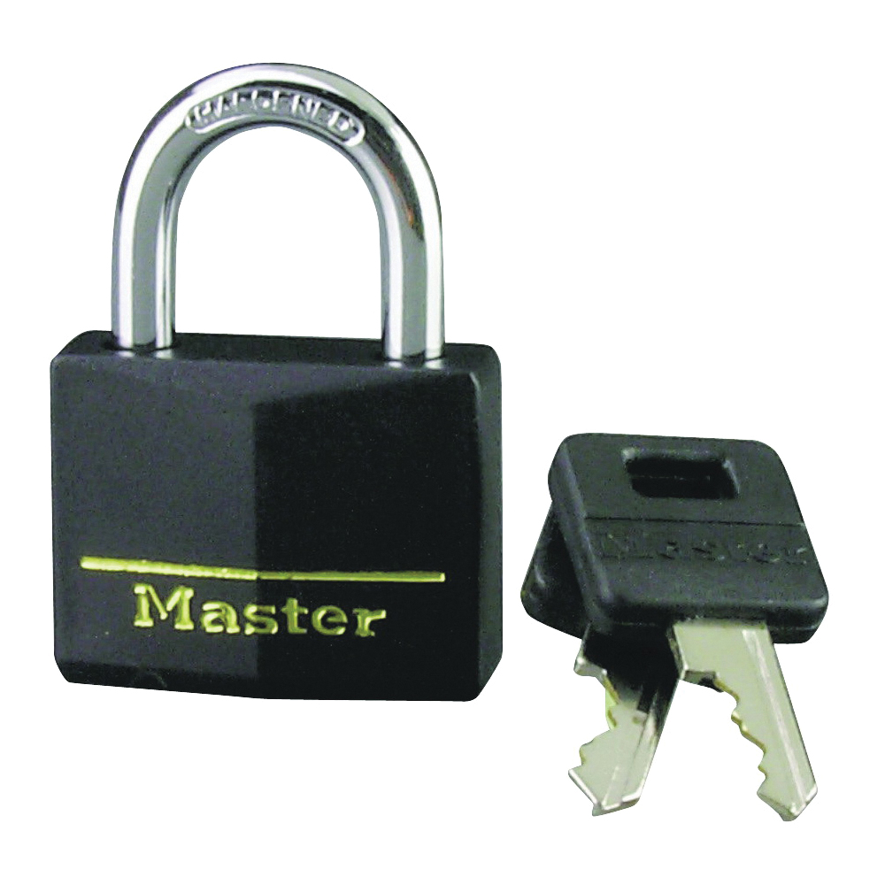 Picture of Master Lock 141D Padlock, Keyed Different Key, 1/4 in Dia Shackle, Steel Shackle, Brass Body, 1-9/16 in W Body