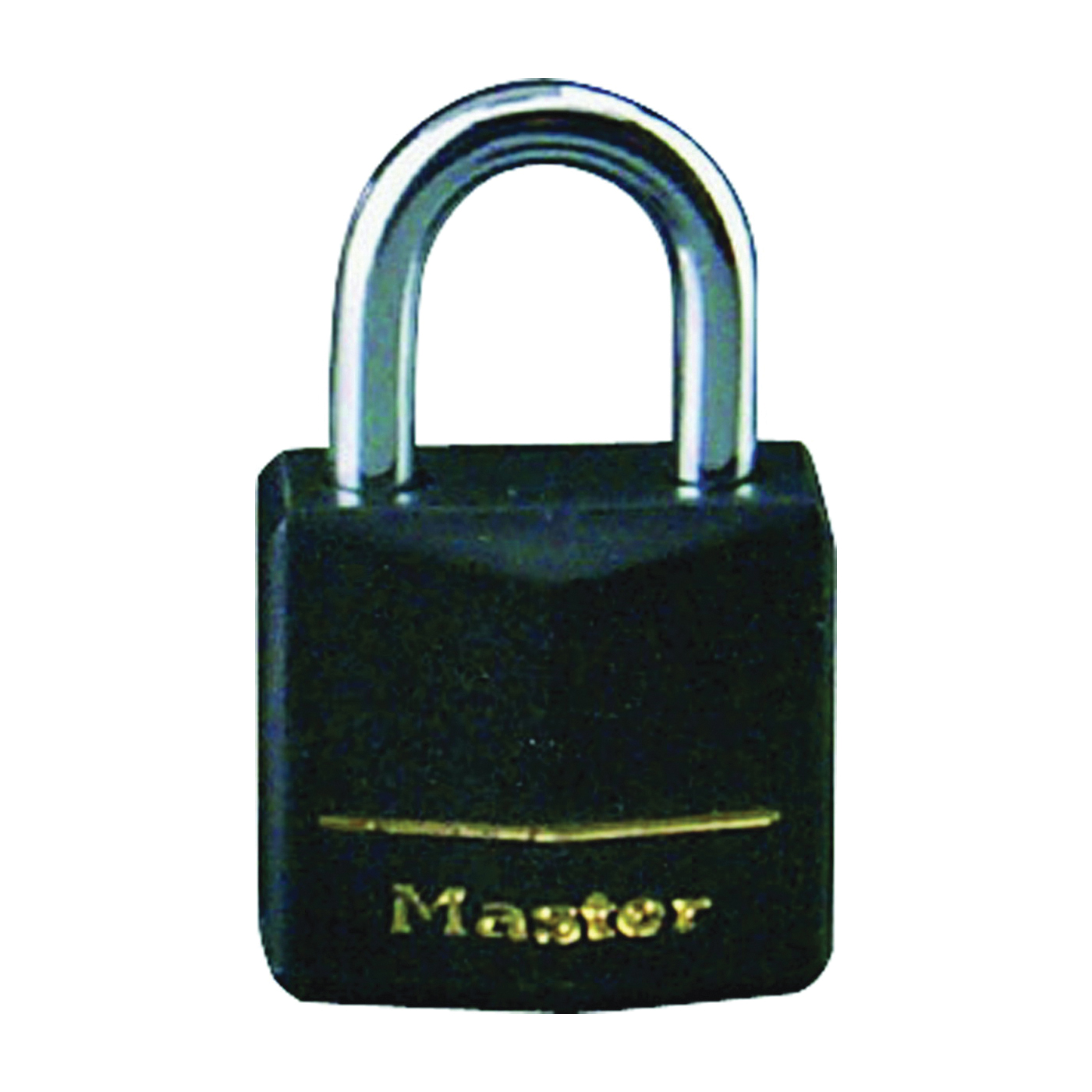 Picture of Master Lock 141T Padlock, Keyed Alike Key, 1/4 in Dia Shackle, Steel Shackle, Brass Body, 1-9/16 in W Body