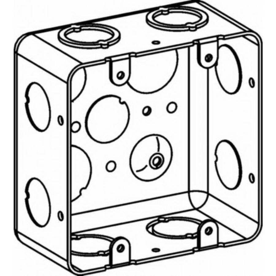 Picture of Orbit DHB-2 Drawn Handy Box, 2-Gang, 2-Outlet, 12-Knockout, 1, 1/2, 3/4 in Knockout, Steel, Gray, Galvanized