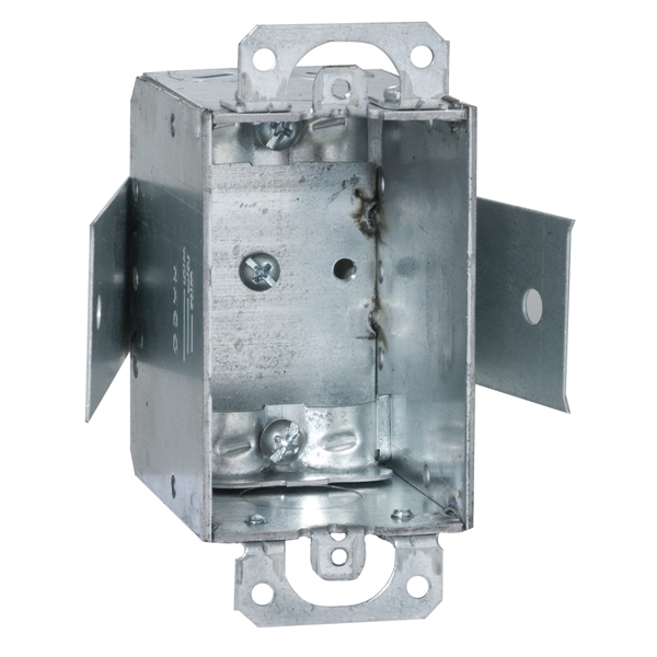 Picture of RACO 545 Switch Box, 1-Gang, 1-Outlet, 2-Knockout, 1/2 in Knockout, Steel, Gray, Galvanized, Screw Mounting