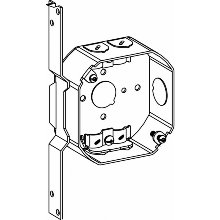 Picture of Orbit 4RB-NM-FB Switch Box, 4 in OAW, 1-1/2 in OAD, 4 in OAH, 6-Knockout, Steel Housing Material, Gray
