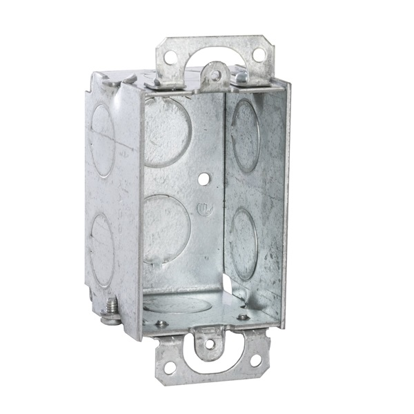 Picture of Orbit GSB-1 Gangable Switch Box, 1-Gang, 1-Outlet, 8-Knockout, 1/2 in Knockout, Steel, Gray, Galvanized