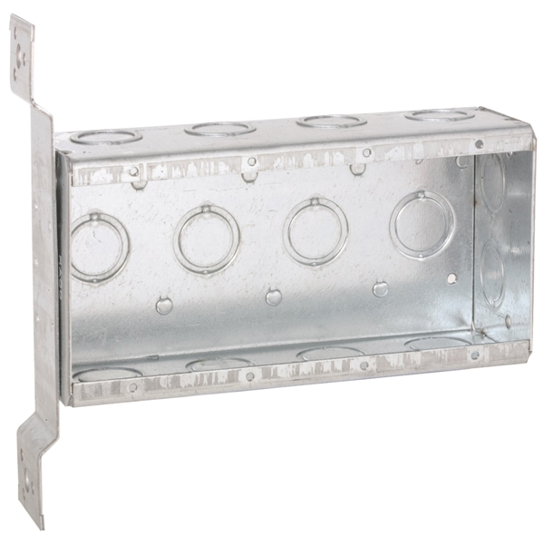 Picture of Orbit MSB-4-FB Masonry Box, 4-Gang, 3-Outlet, 14-Knockout, 1/2, 3/4 in Knockout, Steel, Gray, Galvanized