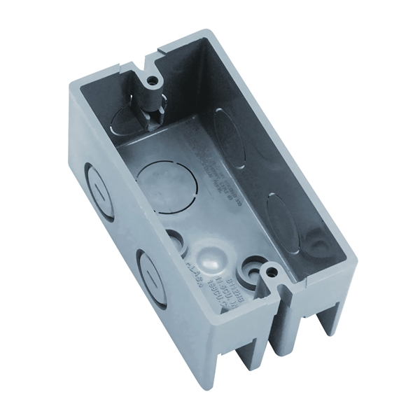 Picture of Carlon B112HB Handy Box, 1-Gang, 6-Knockout, 1/2 in Knockout, Plastic, Gray, Screw Mounting