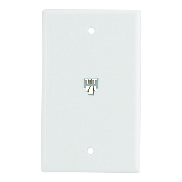 Picture of Eaton Wiring Devices 3532-4W Telephone Jack with Wallplate, Thermoplastic Housing Material, White