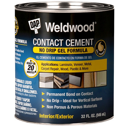 Picture of DAP Weldwood 25312 Contact Cement, Gel, Strong Solvent, Tan, 1 qt Package, Can