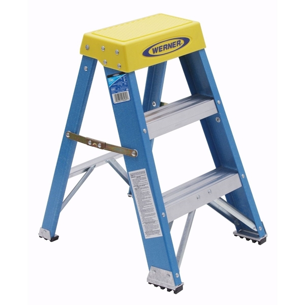 Picture of WERNER 6002 Step Ladder, 8 ft Max Reach H, 2-Step, 250 lb, Type I Duty Rating, 3 in D Step, Fiberglass, Blue
