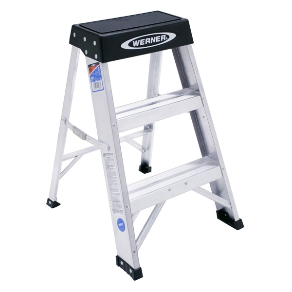 Picture of WERNER 150B Step Ladder, 8 ft Max Reach H, 3-Step, 300 lb, Type IA Duty Rating, 3 in D Step, Aluminum, Black