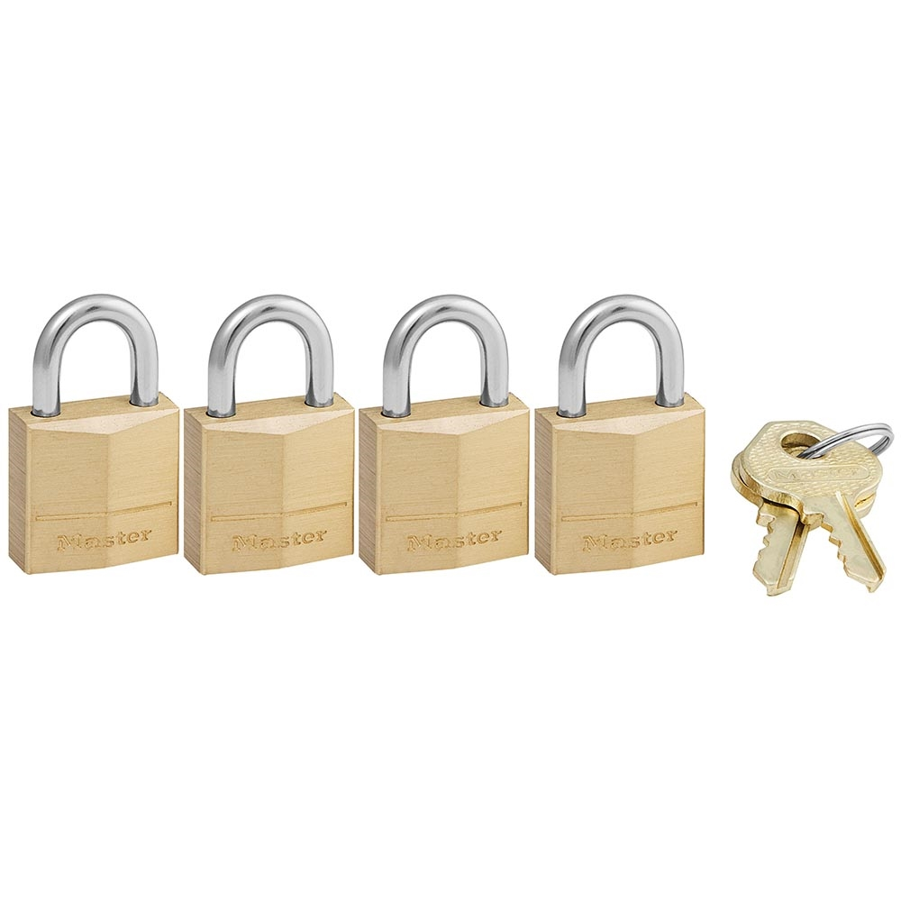 Picture of Master Lock 120Q Padlock, Keyed Alike Key, 5/32 in Dia Shackle, Steel Shackle, Brass Body, 3/4 in W Body