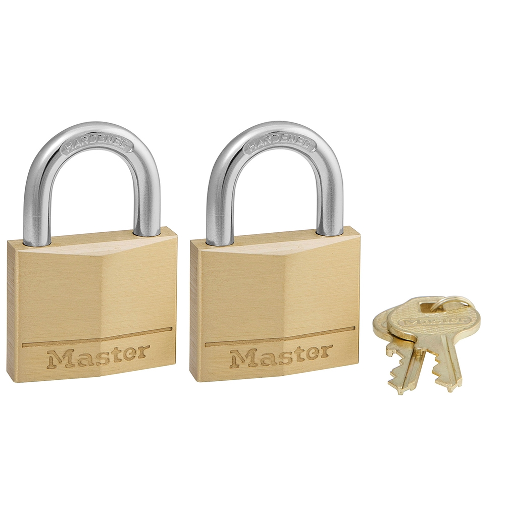 Picture of Master Lock 140T Padlock, Keyed Alike Key, 1/4 in Dia Shackle, Steel Shackle, Solid Brass Body, 1-9/16 in W Body
