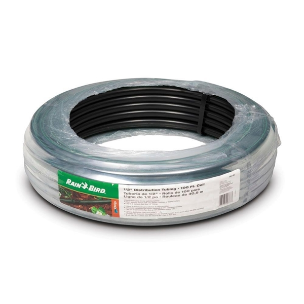 Picture of Rain Bird T63-100S Blank Distribution Tubing, 0.54 in ID, 100 ft L, Plastic, Black