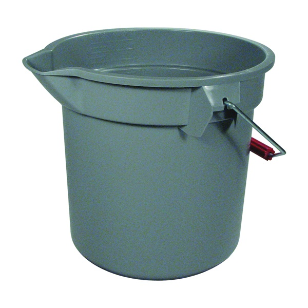 Picture of Rubbermaid Roughneck 261400GRAY Bucket with Pour Spout, 14 qt Capacity, 12 in Dia, Polyethylene, Gray