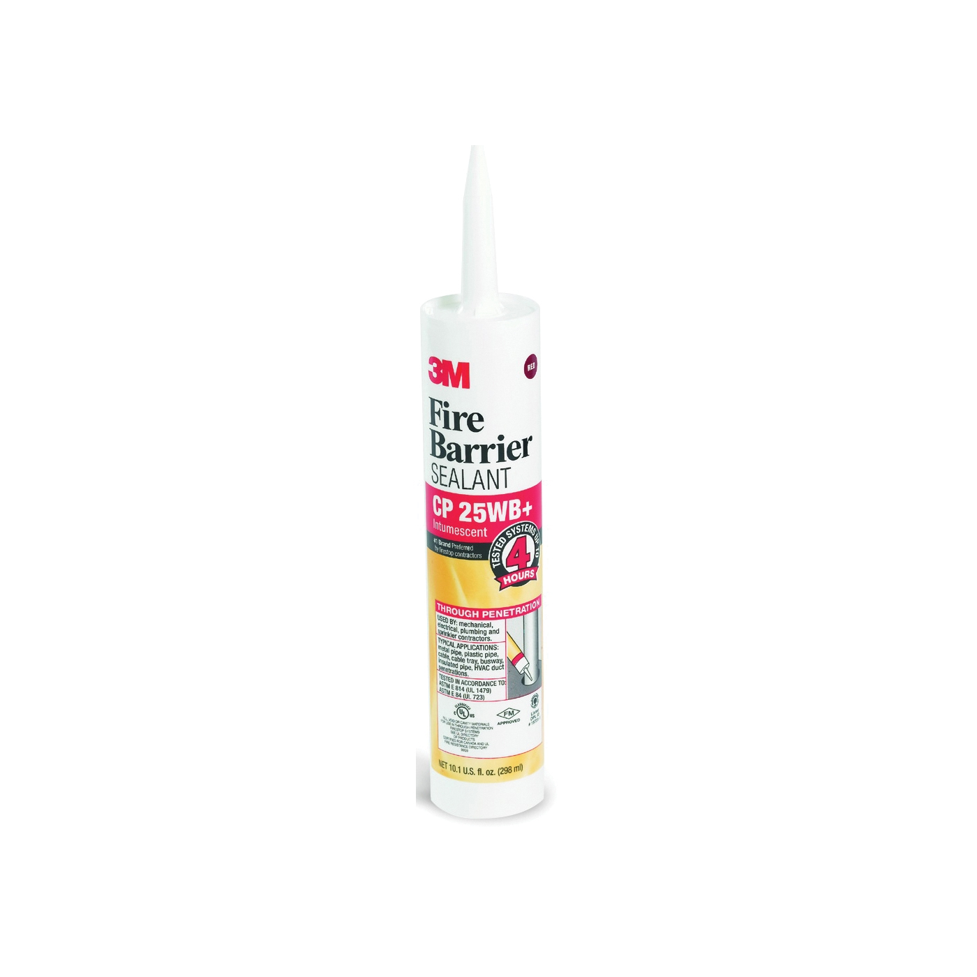 Picture of 3M CP-25WB+10.1OZ Fire Barrier Sealant, Red, 40 to 122 deg F, 10.1 oz Package, Cartridge