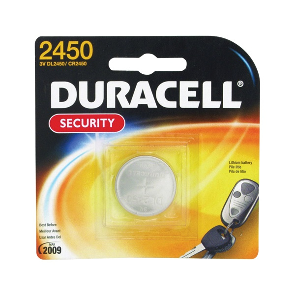 Picture of DURACELL DL2450BPK Coin Cell Battery, 3 V Battery, 600 mAh, CR2450 Battery, Lithium, Manganese Dioxide