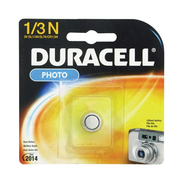 Picture of DURACELL DL1/3NBBPK Lithium Battery, 3 to 3.3 V Battery, 1/3N Battery, Manganese Dioxide