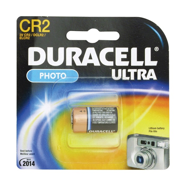 Picture of DURACELL DLCR2BPK Lithium Battery, 3 V Battery, 800 mAh, CR2 Battery, Manganese Dioxide
