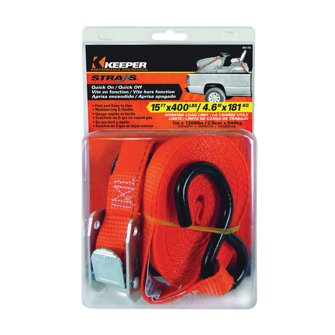Picture of KEEPER 05115 Tie-Down, 1 in W, 15 ft L, Nylon, Red, 400 lb, S-Hook End Fitting