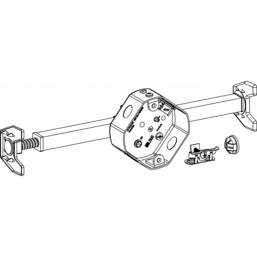 Picture of Orbit FSB-OBH Fan Support Box, 4 in W, 1-1/2 in D, 4 in H, 1-Gang, 5-Knockout, Steel, Silver