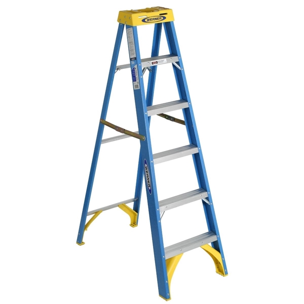 Picture of WERNER 6006 Step Ladder, 10 ft Max Reach H, 5-Step, 250 lb, Type I Duty Rating, 3 in D Step, Fiberglass, Yellow