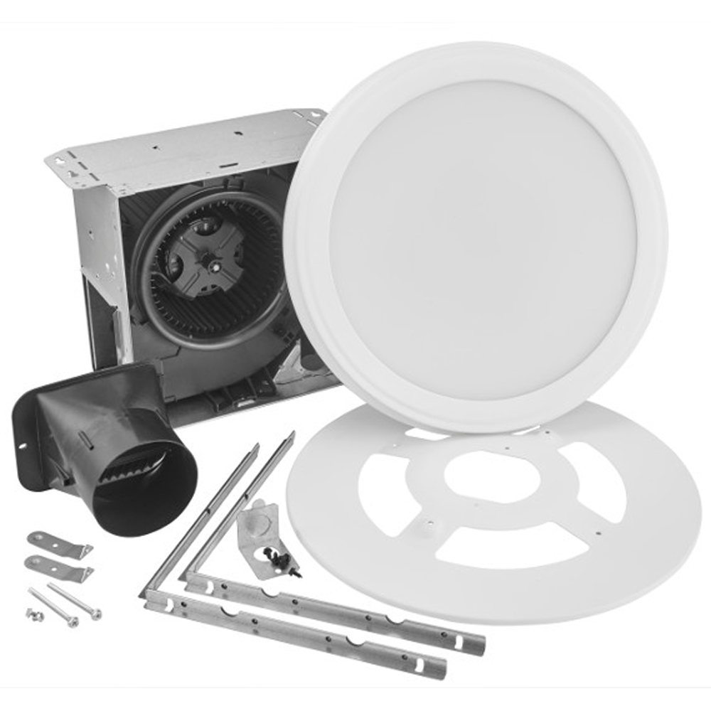 Picture of Broan AER110SLW Bathroom Fan with Light, 0.6 A, 120 V, 110 cfm Air, 1.5 sones, LED Lamp, 4 in Duct, White