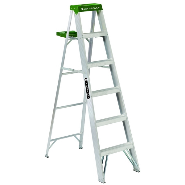 Picture of Louisville AS4006 Step Ladder, 125 in Max Reach H, 5-Step, 225 lb, Type II Duty Rating, 3 in D Step, Aluminum
