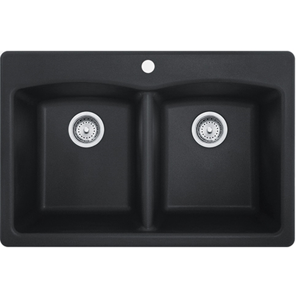 Picture of FRANKE EDOX33229-1 Kitchen Sink, 33 in OAW, 9 in OAH, 22 in OAD, Granite, Onyx, Top Mounting